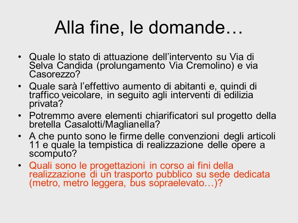 Alla fine, le domande… Quale lo stato di attuazione dell'intervento su Via di Selva Candida (prolungamento Via Cremolino) e via Casorezzo