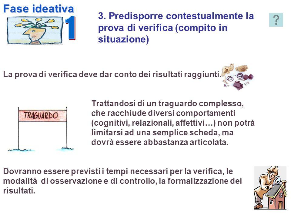 Fase ideativa1. 3. Predisporre contestualmente la prova di verifica (compito in situazione)