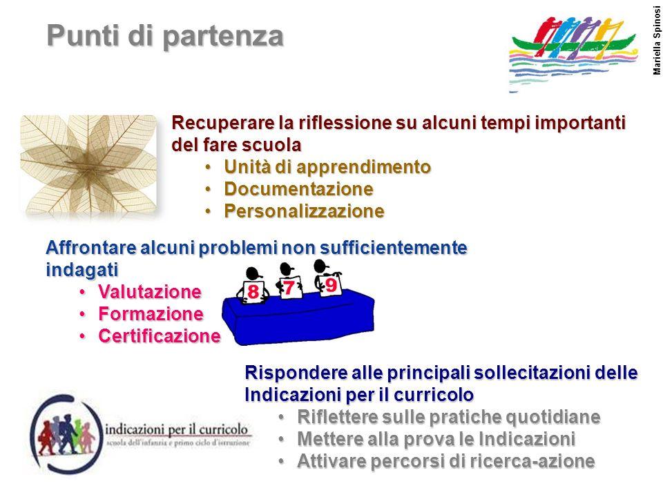 Punti di partenza Mariella Spinosi. Recuperare la riflessione su alcuni tempi importanti del fare scuola.
