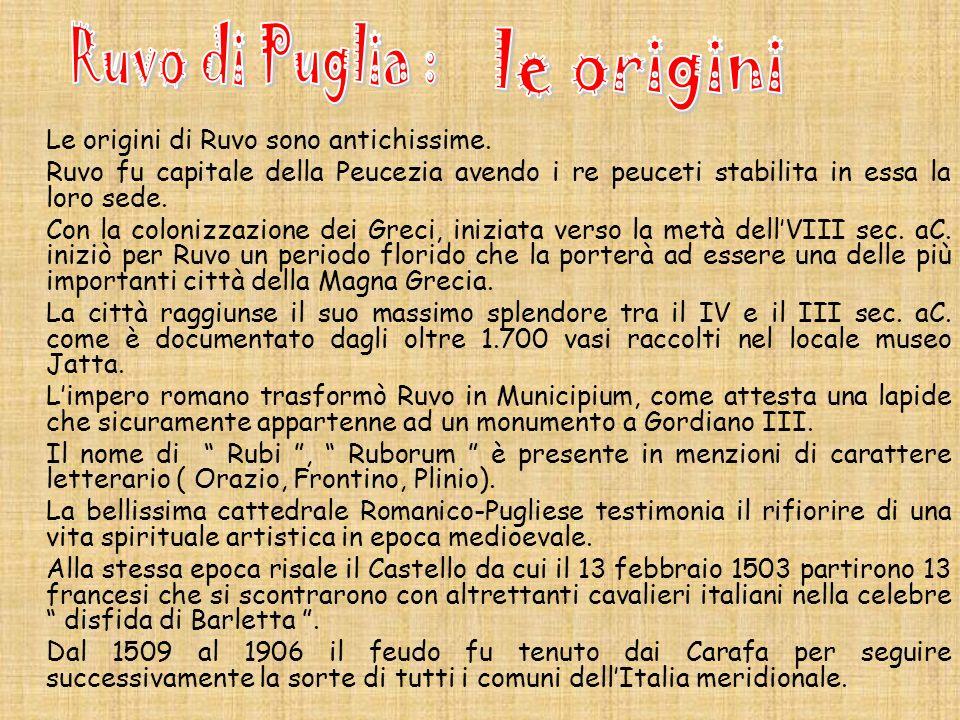 Ruvo di Puglia : le origini Le origini di Ruvo sono antichissime.