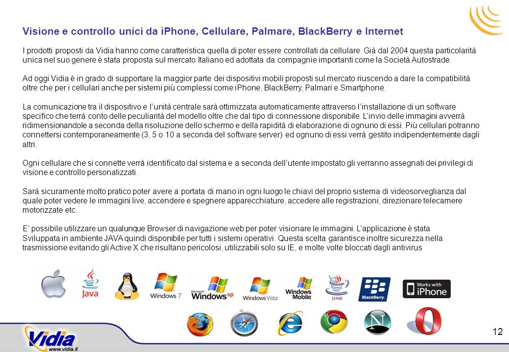 Visione e controllo unici da iPhone, Cellulare, Palmare, BlackBerry e Internet