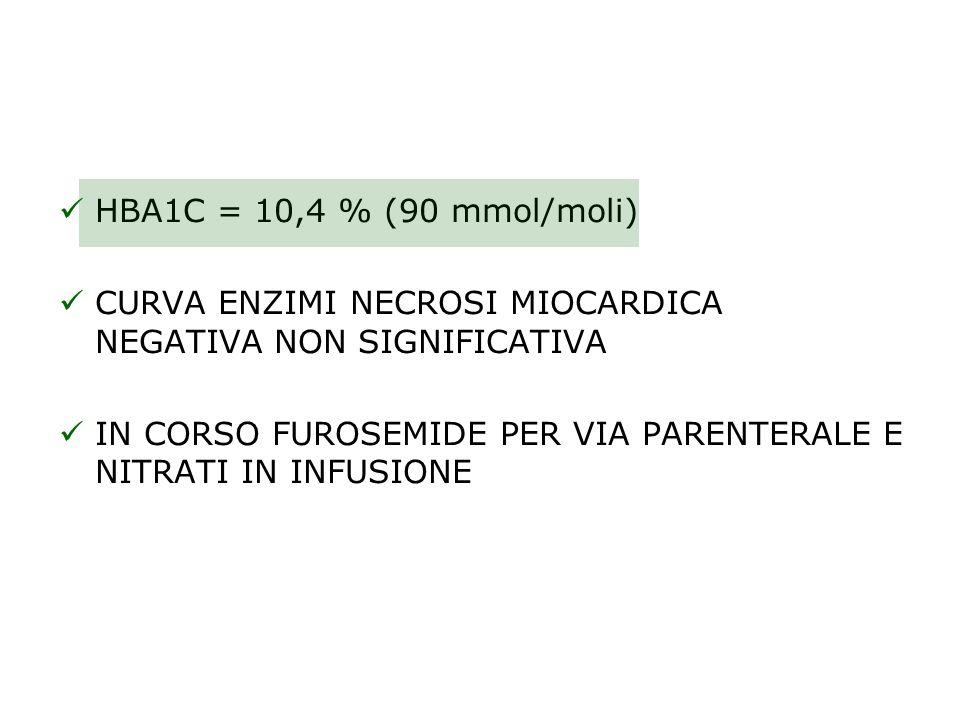 HBA1C = 10,4 % (90 mmol/moli) CURVA ENZIMI NECROSI MIOCARDICA NEGATIVA NON SIGNIFICATIVA.