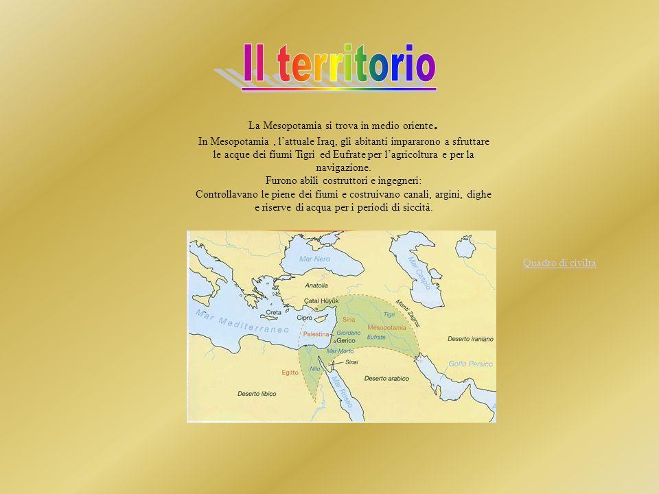 Il territorio La Mesopotamia si trova in medio oriente.