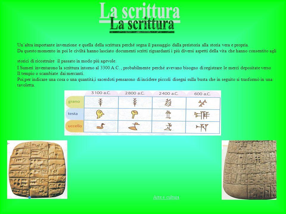 La scrittura Un'altra importante invenzione e quella della scrittura perché segna il passaggio dalla preistoria alla storia vera e propria.