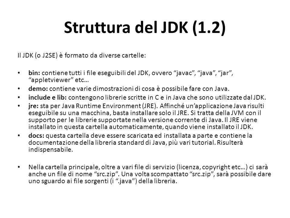 Struttura del JDK (1.2) Il JDK (o J2SE) è formato da diverse cartelle: