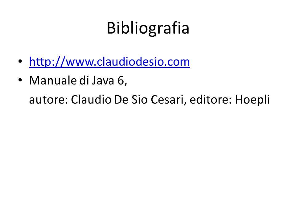 Bibliografia http://www.claudiodesio.com Manuale di Java 6,