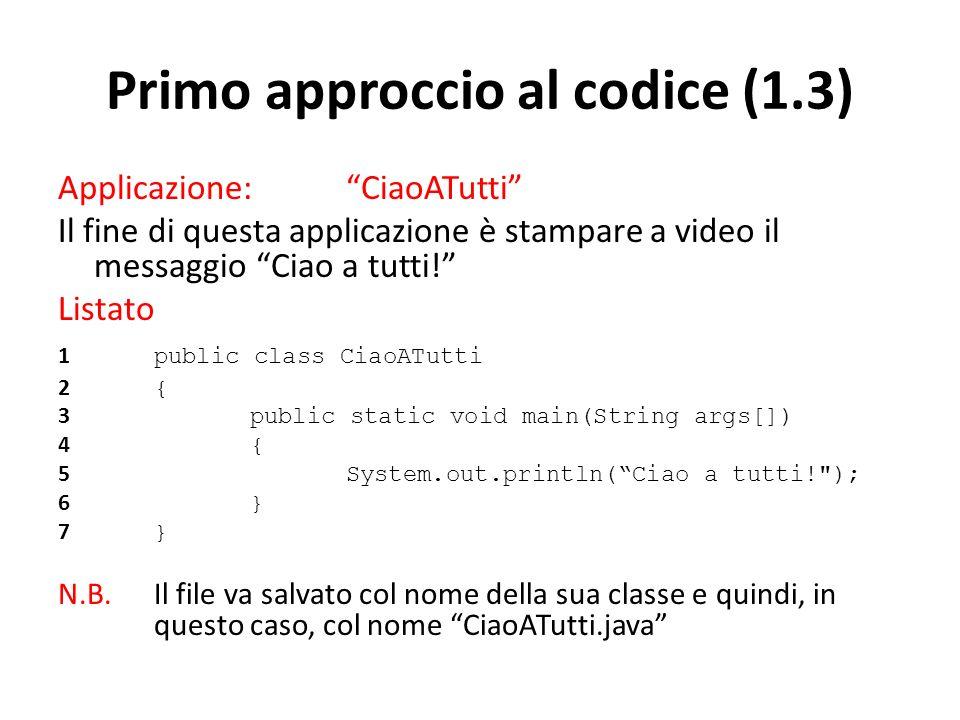 Primo approccio al codice (1.3)