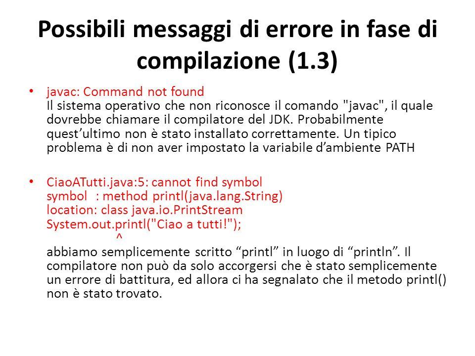 Possibili messaggi di errore in fase di compilazione (1.3)