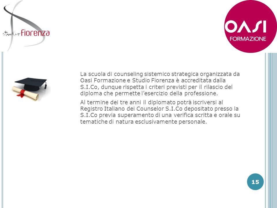 La scuola di counseling sistemico strategica organizzata da Oasi Formazione e Studio Fiorenza è accreditata dalla S.I.Co, dunque rispetta i criteri previsti per il rilascio del diploma che permette l'esercizio della professione.