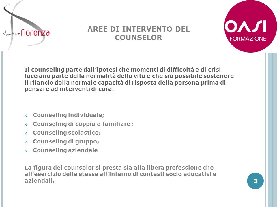 AREE DI INTERVENTO DEL COUNSELOR