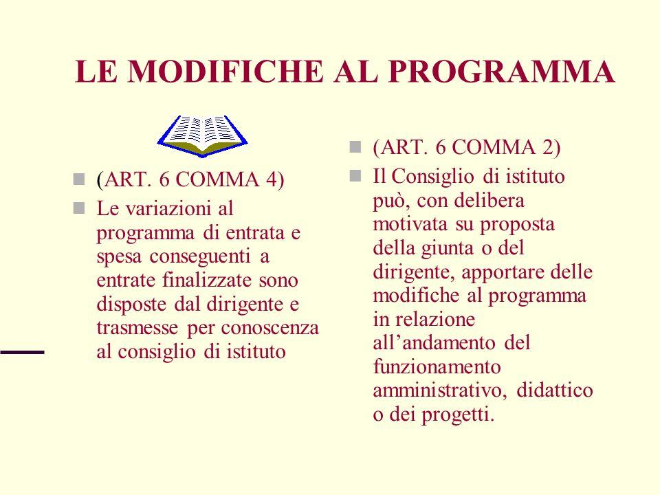 LE MODIFICHE AL PROGRAMMA