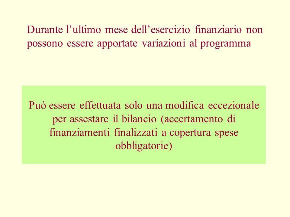 Durante l'ultimo mese dell'esercizio finanziario non possono essere apportate variazioni al programma
