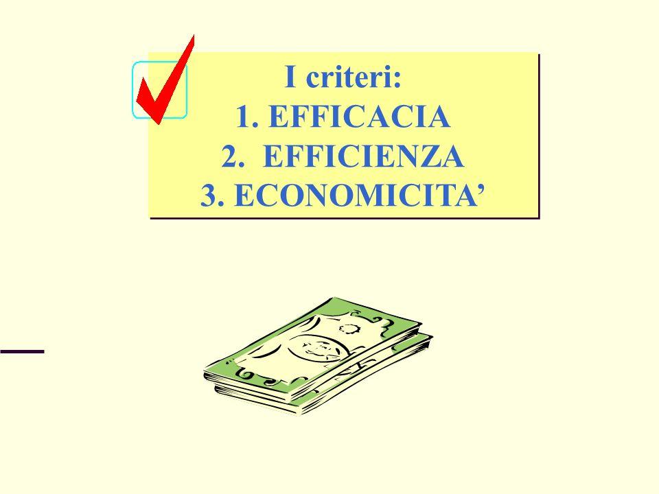 I criteri: EFFICACIA EFFICIENZA ECONOMICITA'