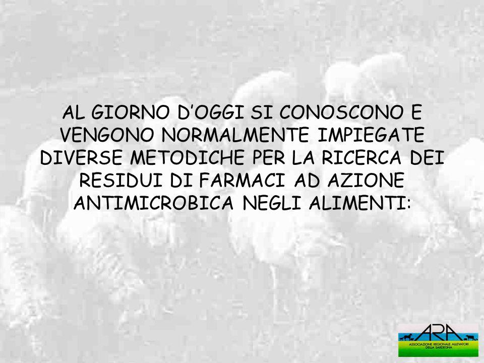 AL GIORNO D'OGGI SI CONOSCONO E VENGONO NORMALMENTE IMPIEGATE DIVERSE METODICHE PER LA RICERCA DEI RESIDUI DI FARMACI AD AZIONE ANTIMICROBICA NEGLI ALIMENTI:
