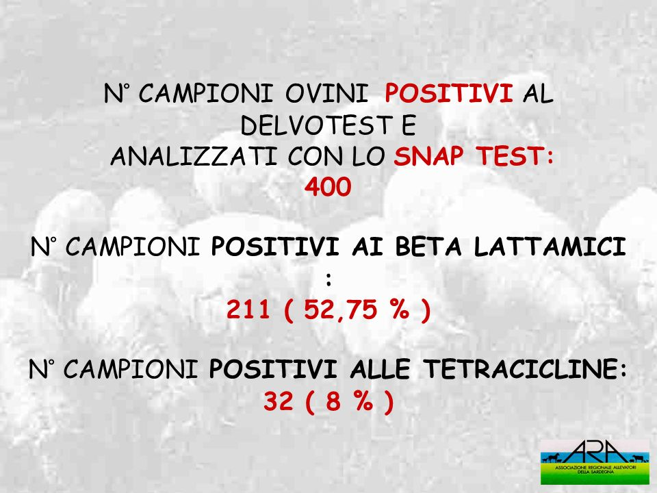 N° CAMPIONI OVINI POSITIVI AL DELVOTEST E ANALIZZATI CON LO SNAP TEST: