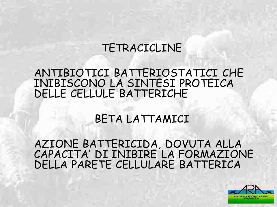 TETRACICLINEANTIBIOTICI BATTERIOSTATICI CHE INIBISCONO LA SINTESI PROTEICA DELLE CELLULE BATTERICHE.