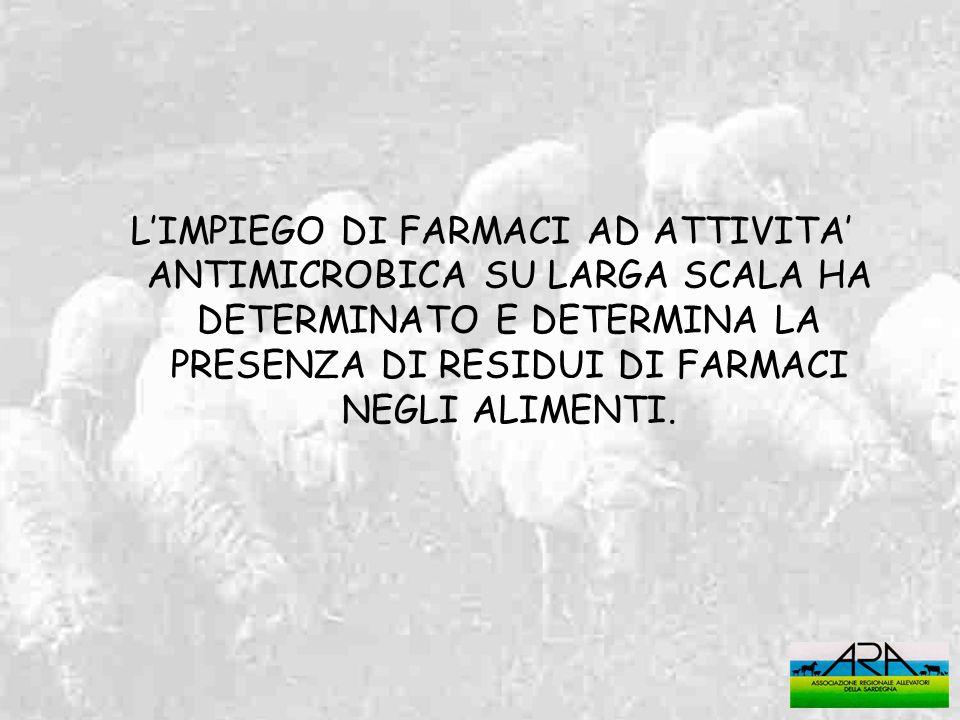 L'IMPIEGO DI FARMACI AD ATTIVITA' ANTIMICROBICA SU LARGA SCALA HA DETERMINATO E DETERMINA LA PRESENZA DI RESIDUI DI FARMACI NEGLI ALIMENTI.