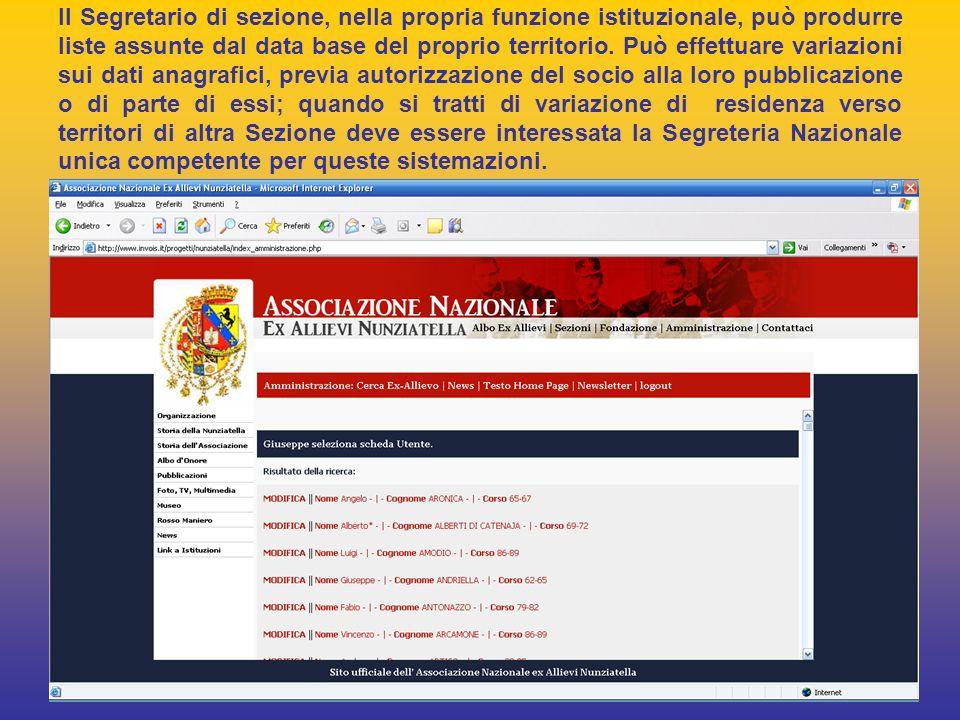 Il Segretario di sezione, nella propria funzione istituzionale, può produrre liste assunte dal data base del proprio territorio.