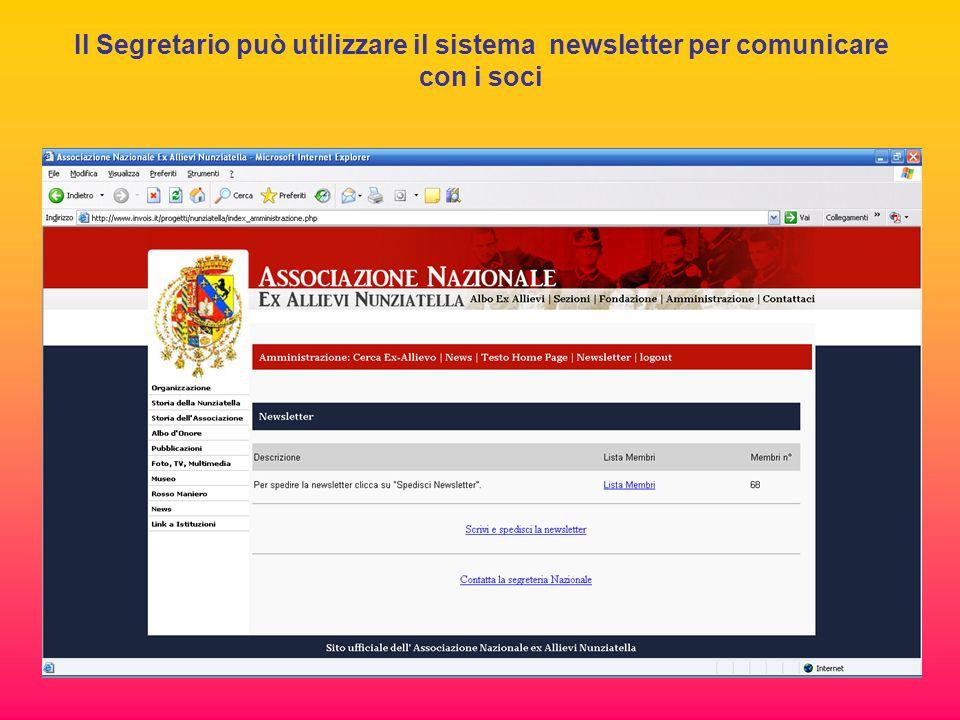 Il Segretario può utilizzare il sistema newsletter per comunicare con i soci