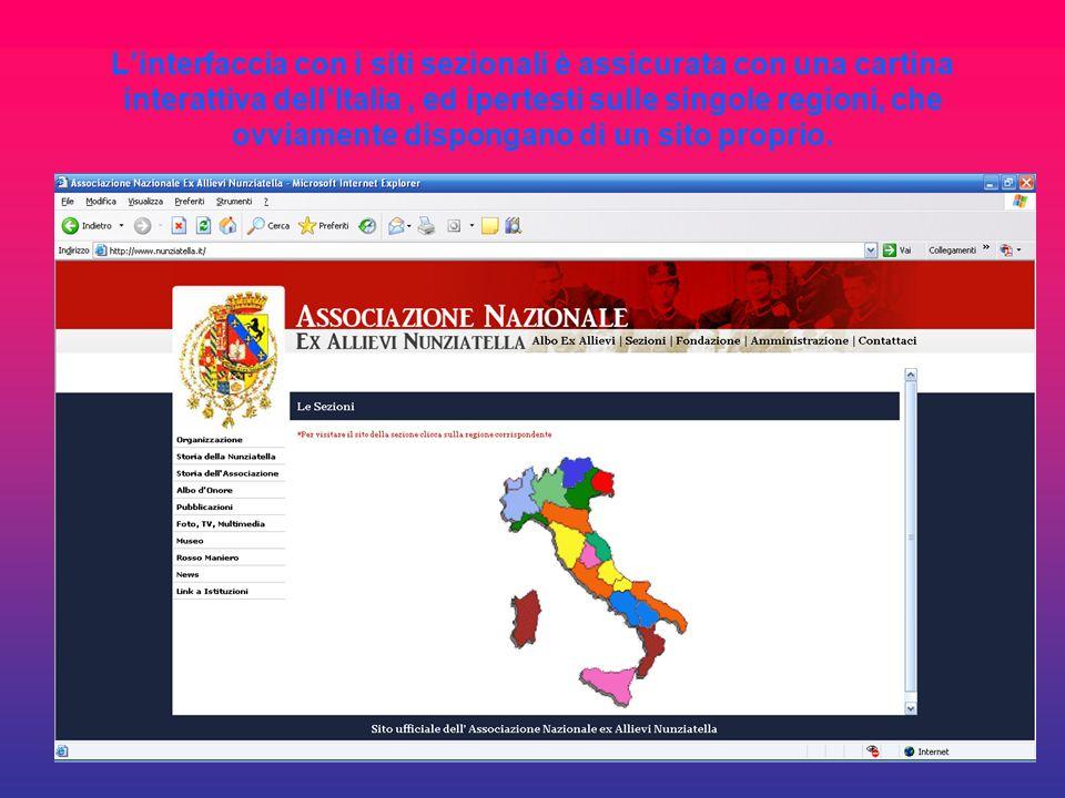 L'interfaccia con i siti sezionali è assicurata con una cartina interattiva dell'Italia , ed ipertesti sulle singole regioni, che ovviamente dispongano di un sito proprio.