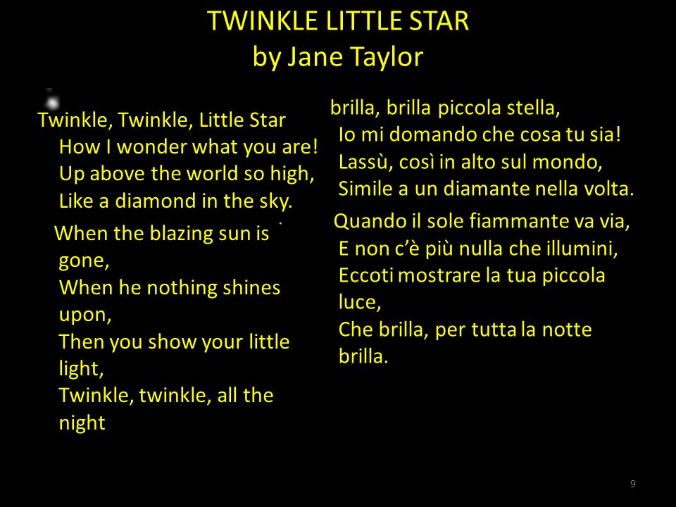 TWINKLE LITTLE STAR by Jane Taylor