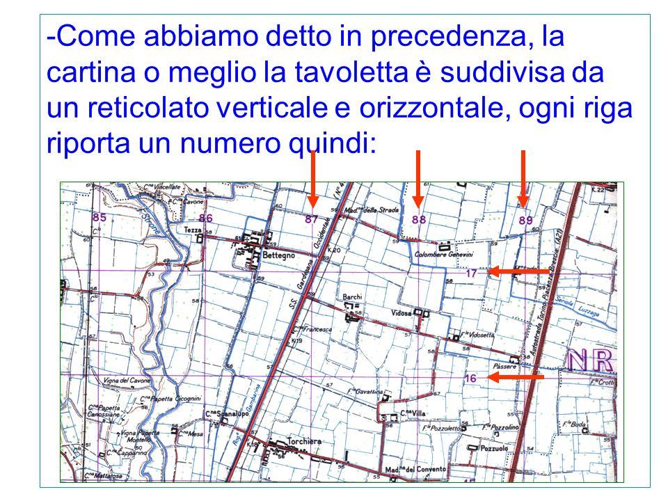 -Come abbiamo detto in precedenza, la cartina o meglio la tavoletta è suddivisa da un reticolato verticale e orizzontale, ogni riga riporta un numero quindi: