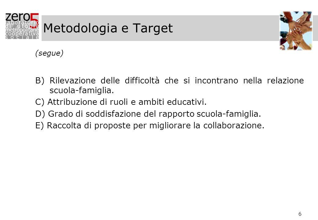 Metodologia e Target (segue) B) Rilevazione delle difficoltà che si incontrano nella relazione scuola-famiglia.