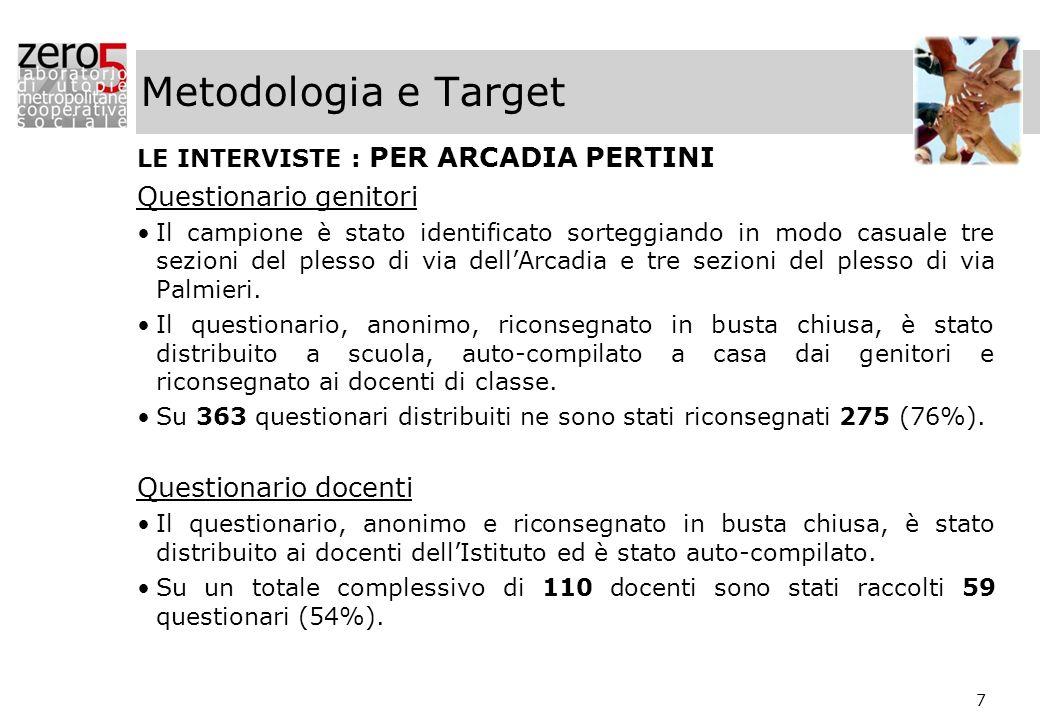 Metodologia e Target Questionario genitori Questionario docenti
