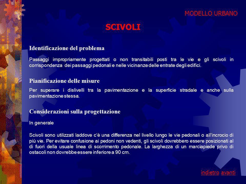 SCIVOLI MODELLO URBANO Identificazione del problema