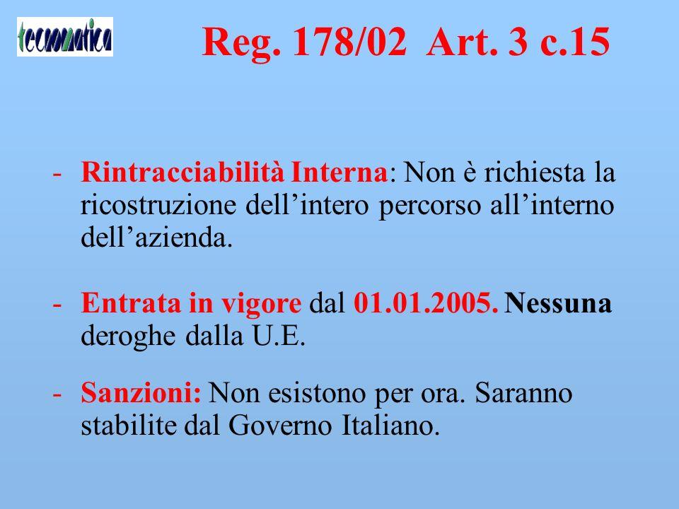 Reg. 178/02 Art. 3 c.15 Rintracciabilità Interna: Non è richiesta la ricostruzione dell'intero percorso all'interno dell'azienda.