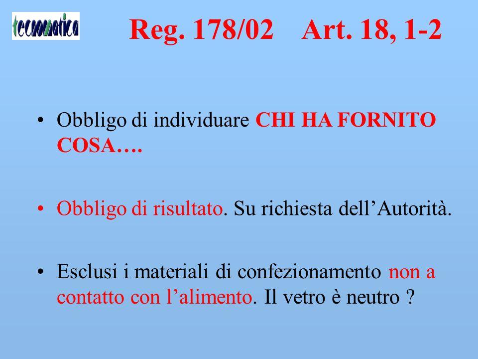 Reg. 178/02 Art. 18, 1-2 Obbligo di individuare CHI HA FORNITO COSA….