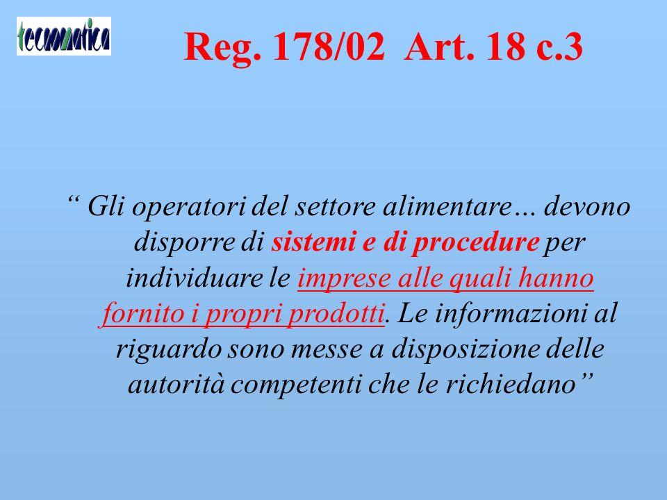 Reg. 178/02 Art. 18 c.3