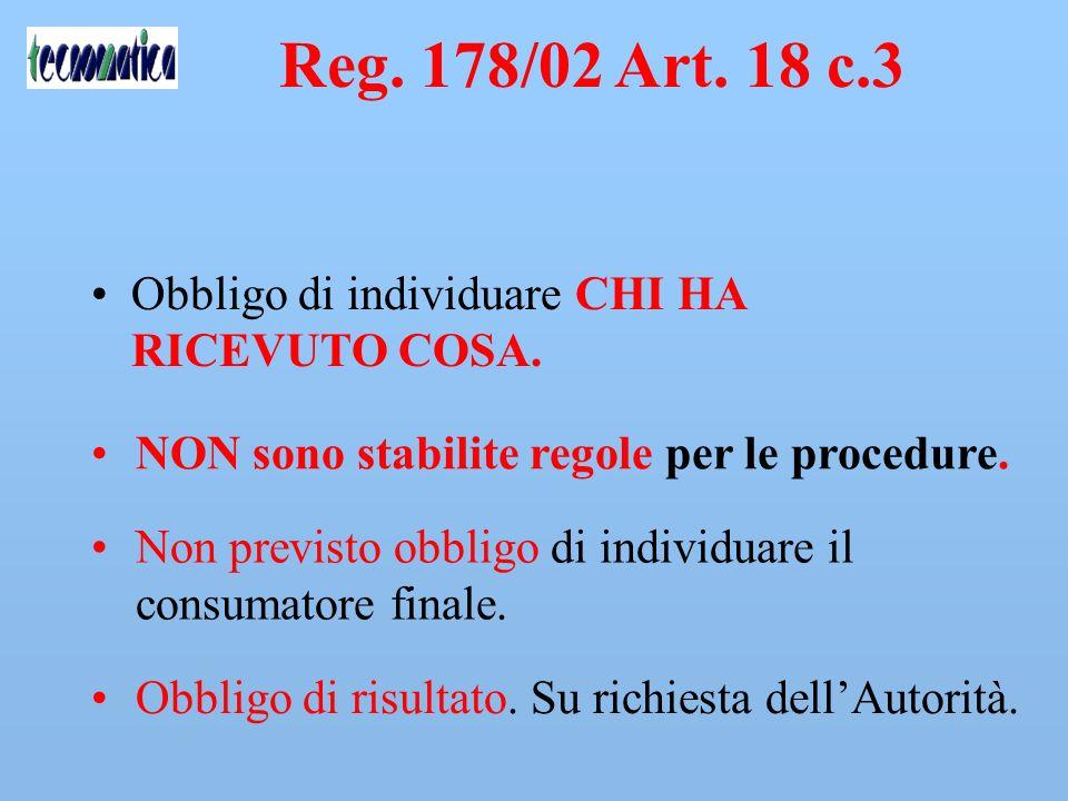 Reg. 178/02 Art. 18 c.3 Obbligo di individuare CHI HA RICEVUTO COSA.