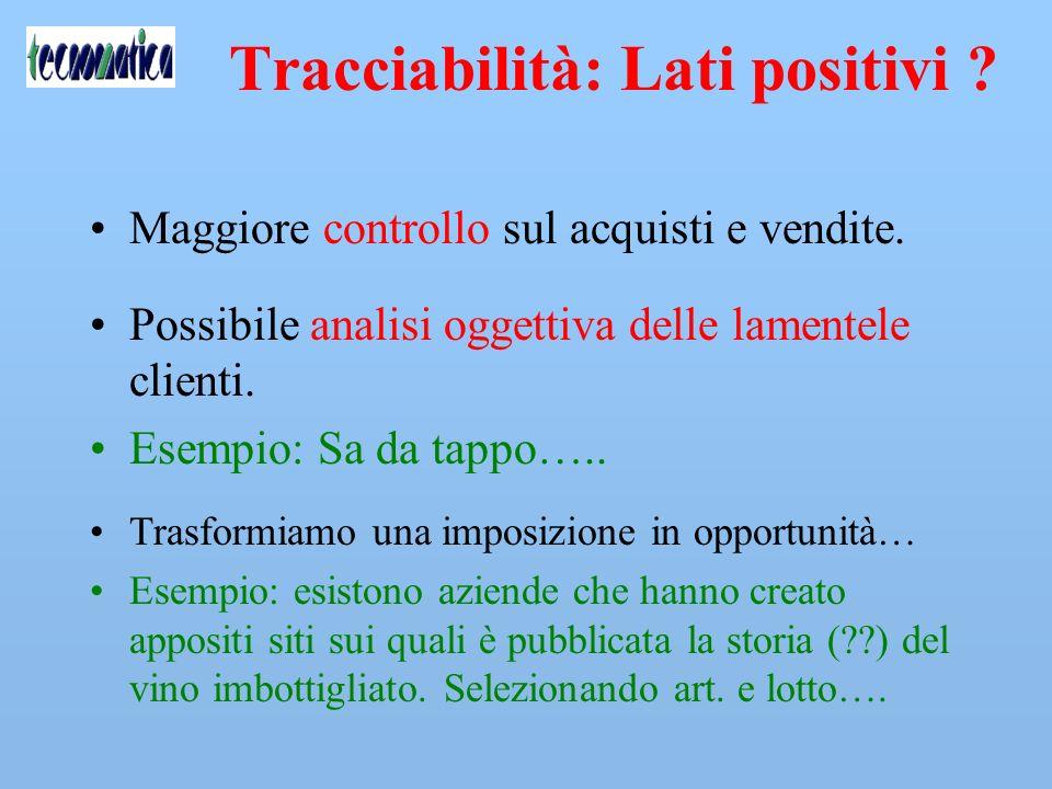 Tracciabilità: Lati positivi