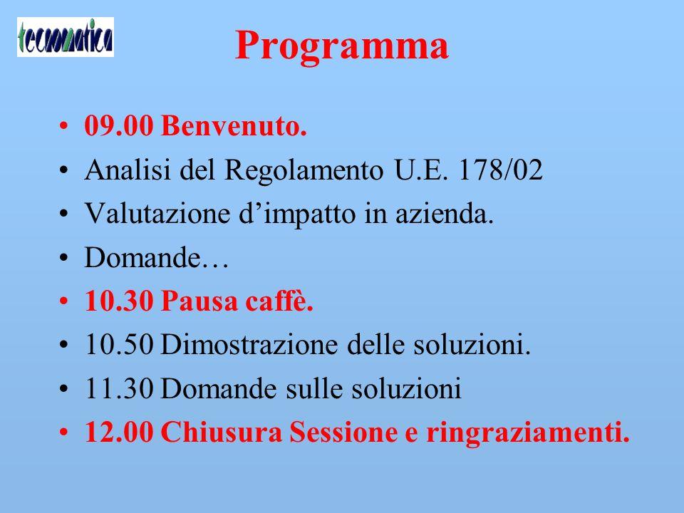 Programma 09.00 Benvenuto. Analisi del Regolamento U.E. 178/02