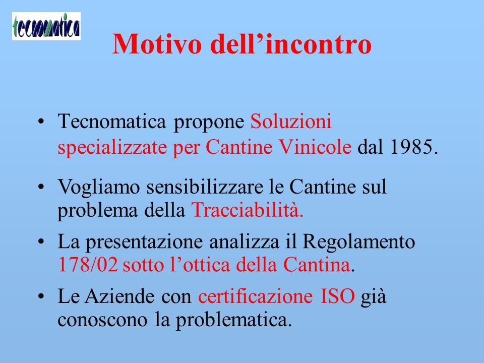 Motivo dell'incontro Tecnomatica propone Soluzioni specializzate per Cantine Vinicole dal 1985.
