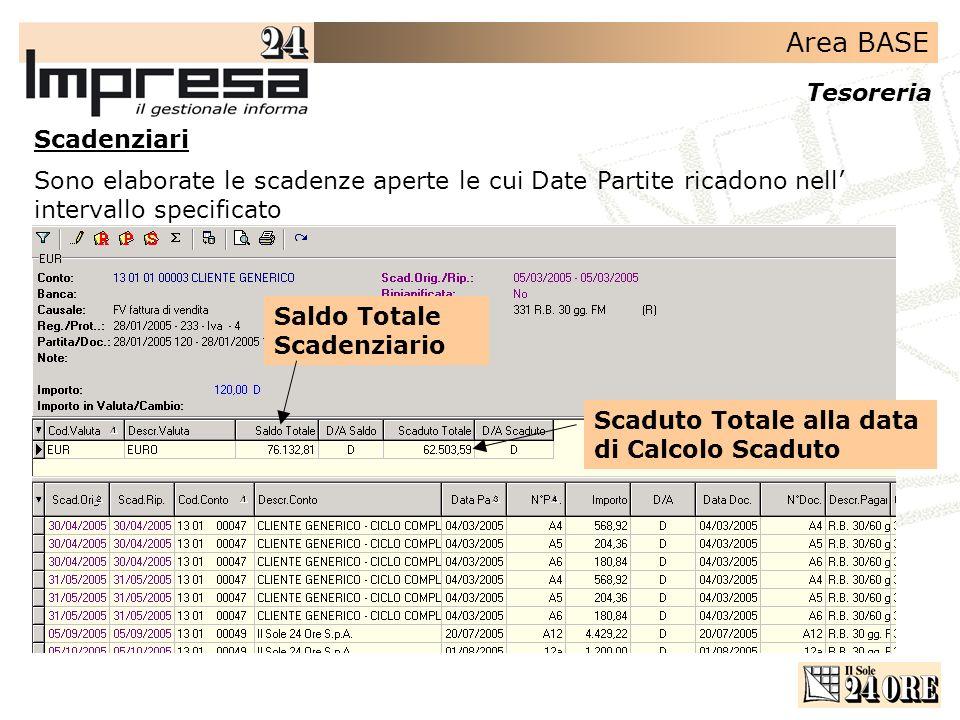 Scadenziari Sono elaborate le scadenze aperte le cui Date Partite ricadono nell' intervallo specificato.