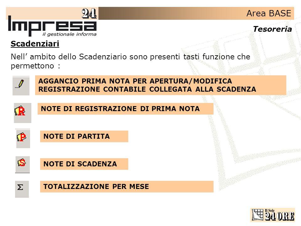 ScadenziariNell' ambito dello Scadenziario sono presenti tasti funzione che permettono :