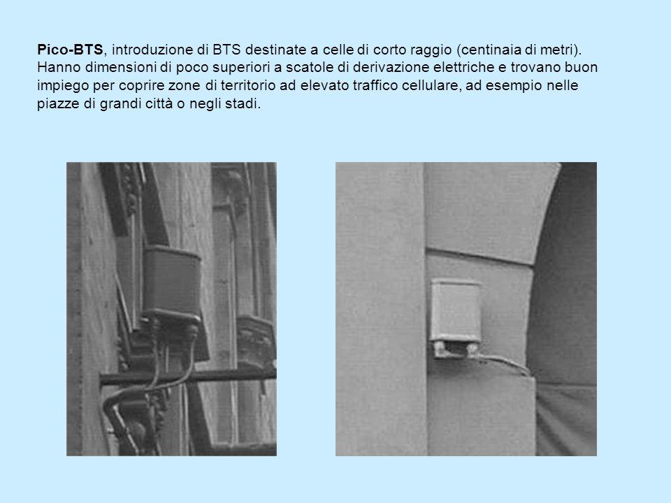 Pico-BTS, introduzione di BTS destinate a celle di corto raggio (centinaia di metri). Hanno dimensioni di poco superiori a scatole di derivazione elettriche e trovano buon impiego per coprire zone di territorio ad elevato traffico cellulare, ad esempio nelle piazze di grandi città o negli stadi.