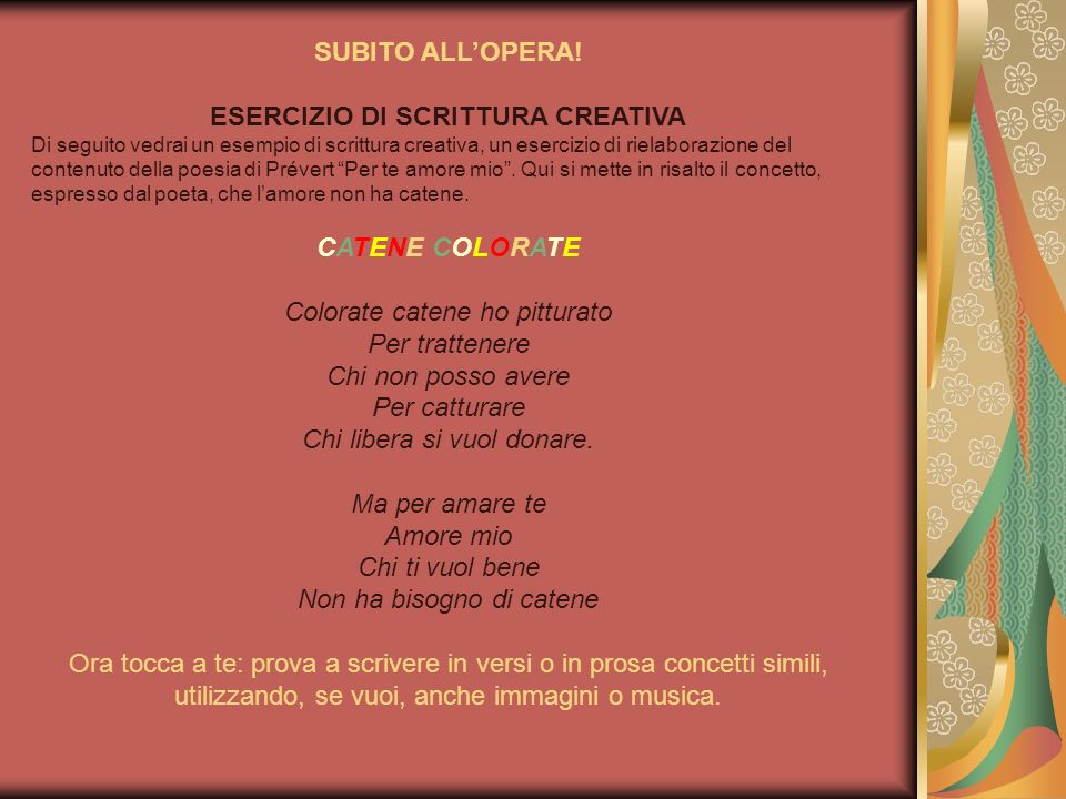 SUBITO ALL'OPERA! CATENE COLORATE