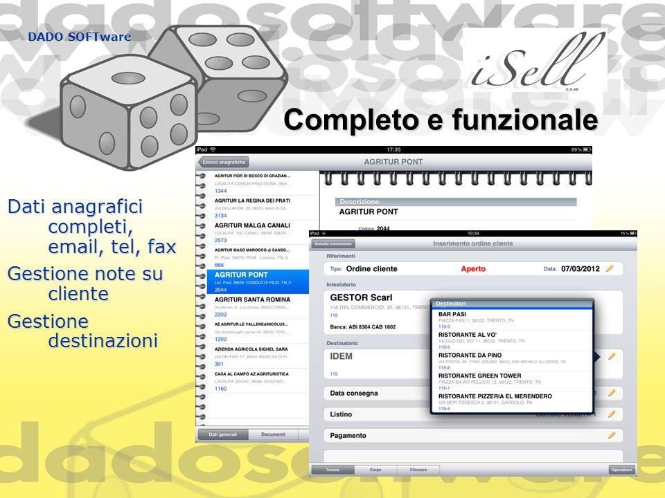 Completo e funzionale Dati anagrafici completi, email, tel, fax
