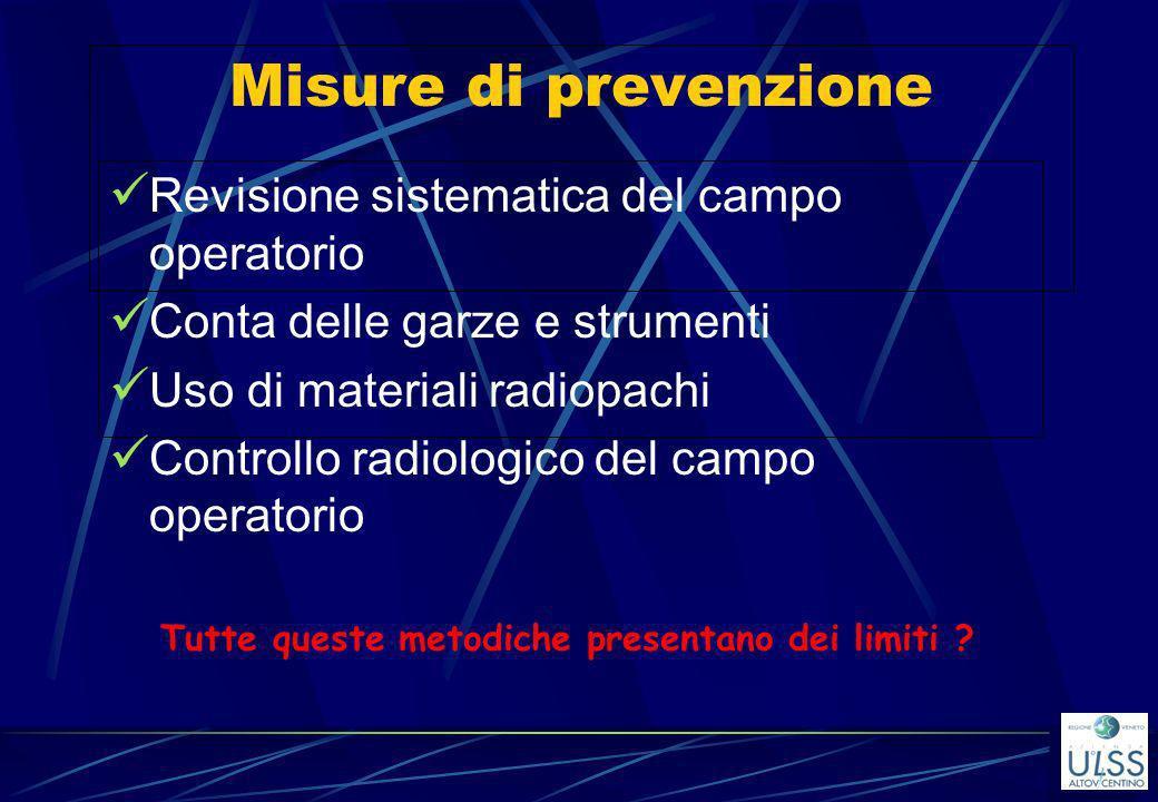 Misure di prevenzione Revisione sistematica del campo operatorio