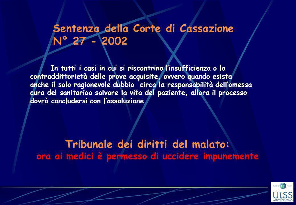 N° 27 - 2002 Sentenza della Corte di Cassazione