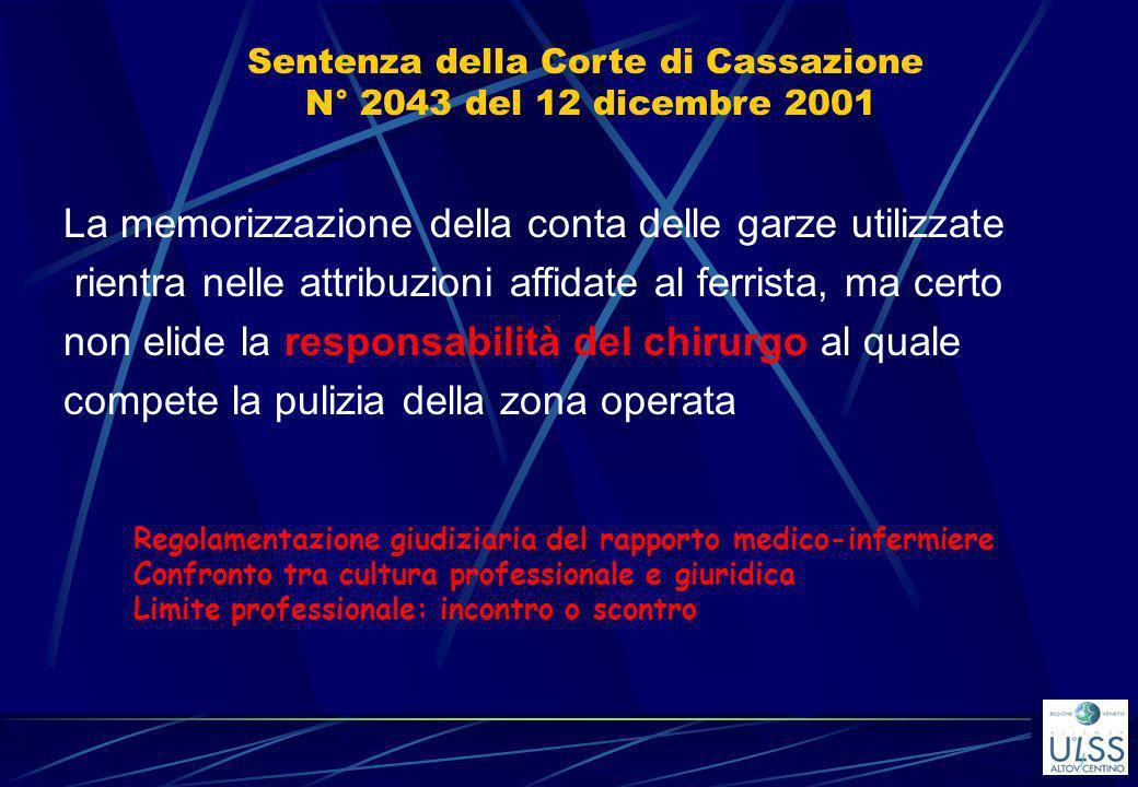 Sentenza della Corte di Cassazione N° 2043 del 12 dicembre 2001
