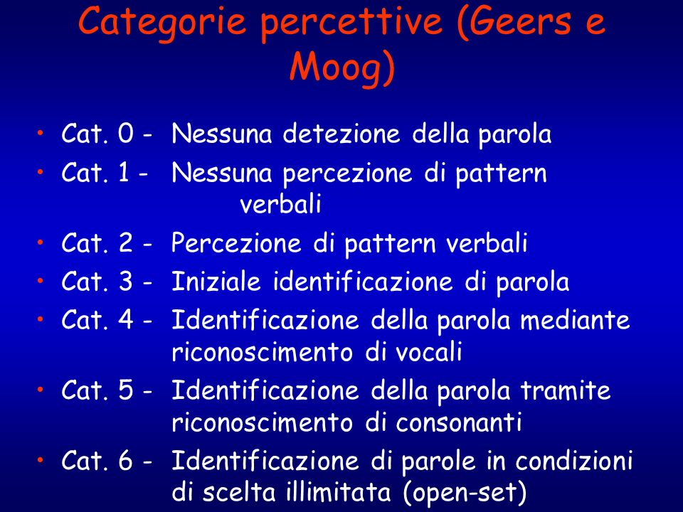 Categorie percettive (Geers e Moog)