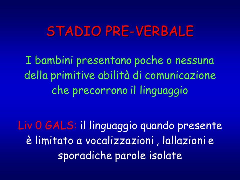 STADIO PRE-VERBALE I bambini presentano poche o nessuna della primitive abilità di comunicazione che precorrono il linguaggio.