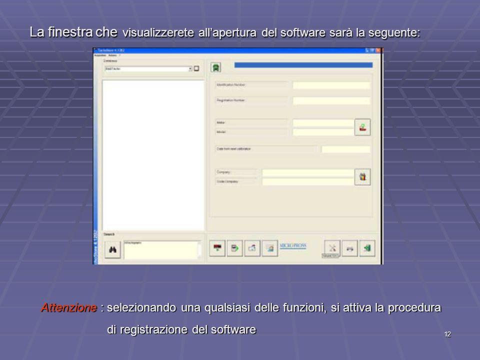 La finestra che visualizzerete all'apertura del software sarà la seguente: