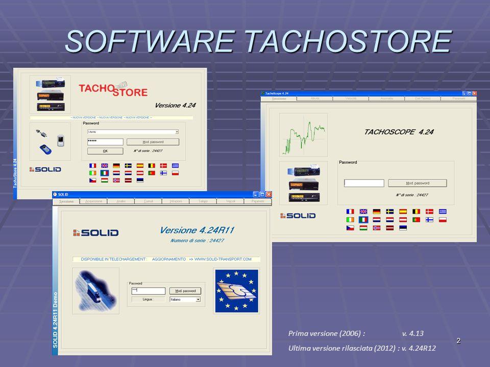 SOFTWARE TACHOSTORE Prima versione (2006) : v. 4.13
