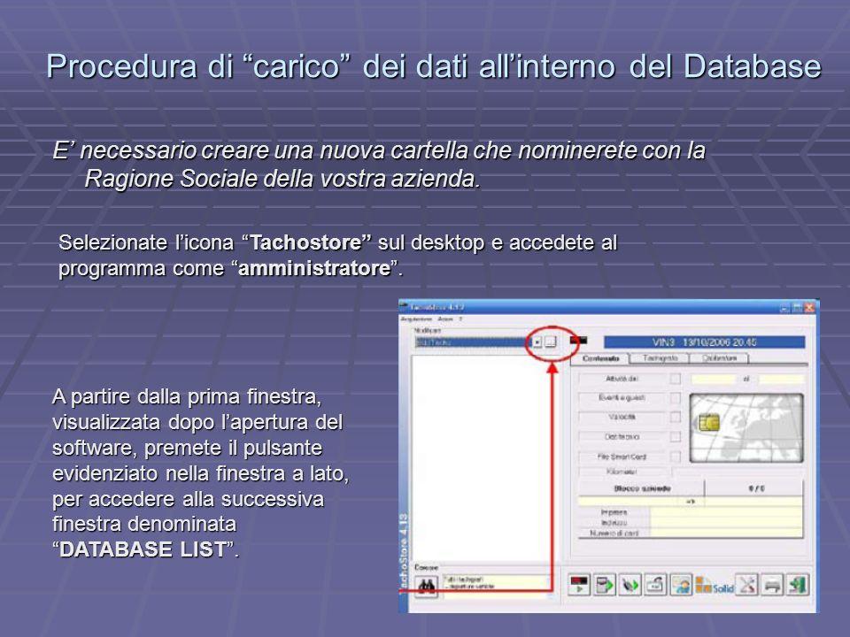 Procedura di carico dei dati all'interno del Database
