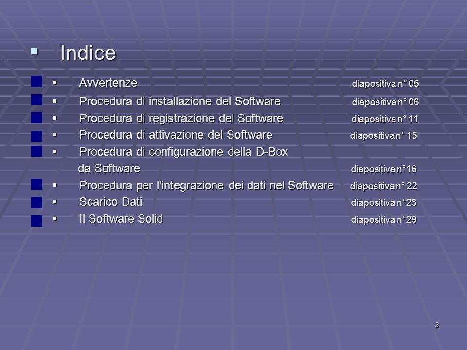 Indice Avvertenze diapositiva n° 05